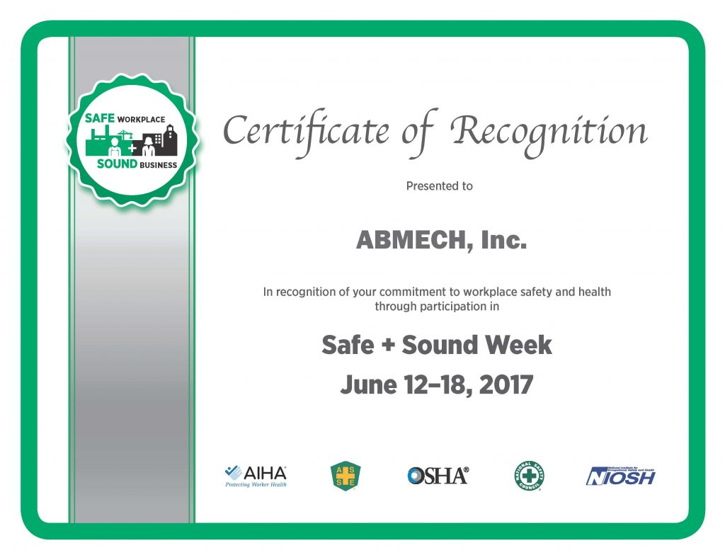 Certificate of Participation - OSHA Safe and Sound Week 2017